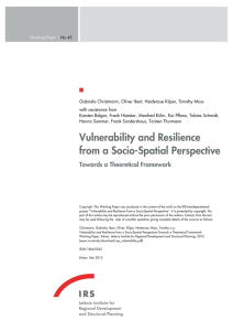 Vulnerability and Resilience from a Socio