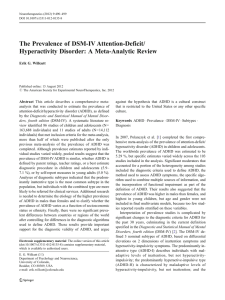 The Prevalence of DSM-IV Attention-Deficit/ Hyperactivity Disorder