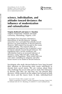 science, individualism, and attitudes toward deviance: the influence