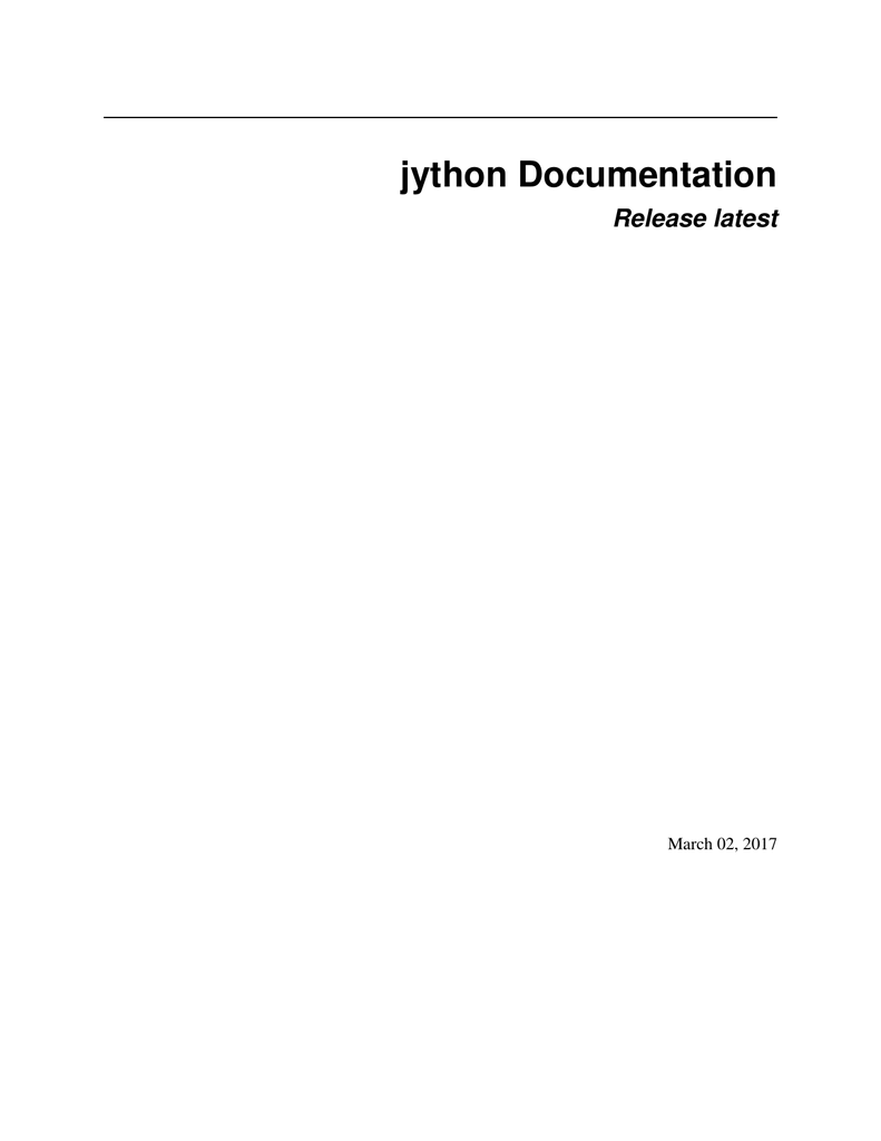 jython Documentation