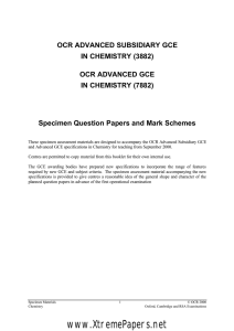 AS/A Level Chemistry (A) specimen question papers and mark