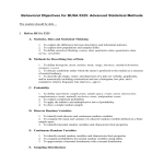 Behavioral Objectives for BUSA 5325: Advanced Statistical Methods