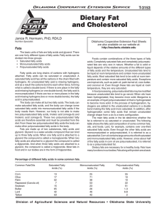 Dietary Fat and Cholesterol - OSU Fact Sheets