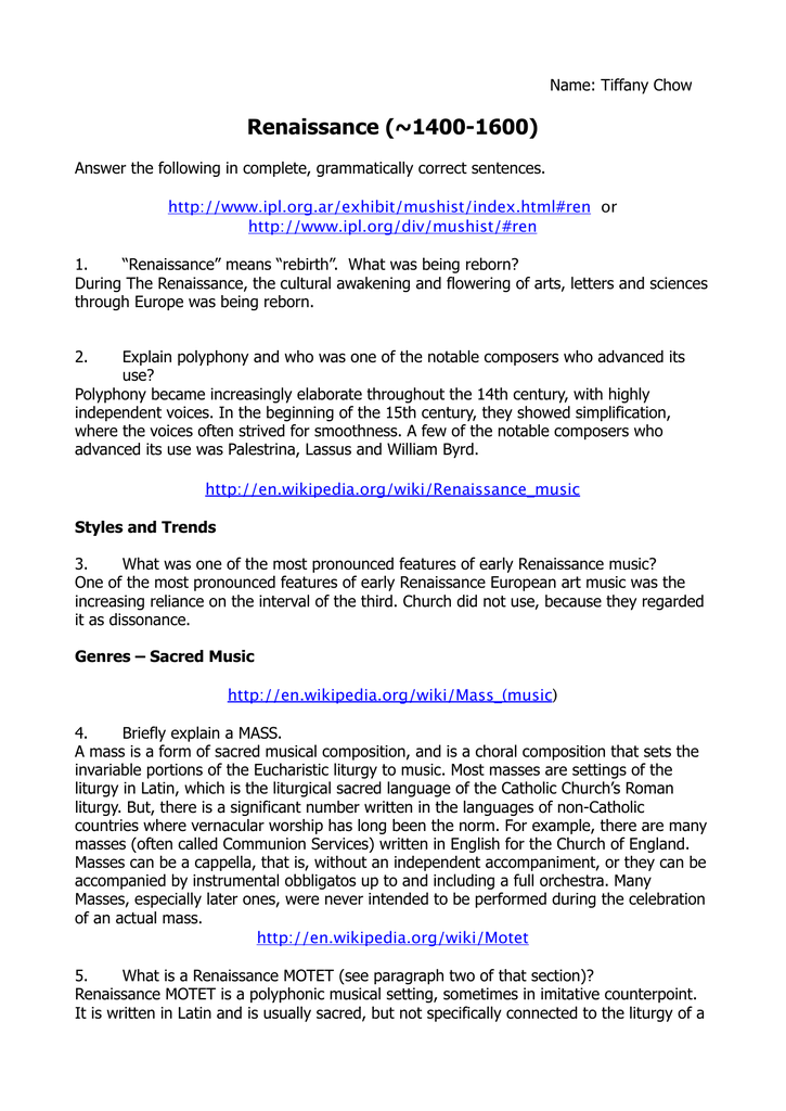 Renaissance Questions - CDNIS Community Sites