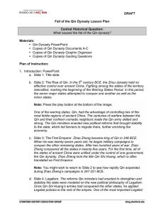 DRAFT Fall of the Qin Dynasty Lesson Plan Central Historical