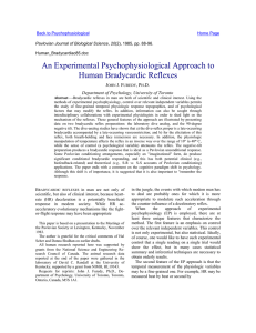 An Experimental Psychophysiological Approach to Human