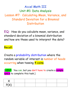 Calculating Mean, Variance, and Standard Deviation for a Binomial