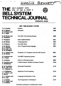 Bell System Technical Journal - PDP