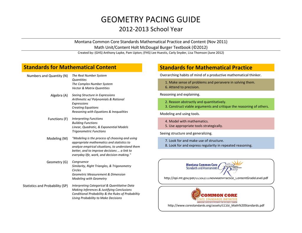 geometry pacing guide - Kalispell Public Schools