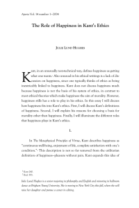 The Role of Happiness in Kant`s Ethics - Aporia