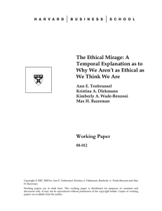 The Ethical Mirage - Harvard Business School