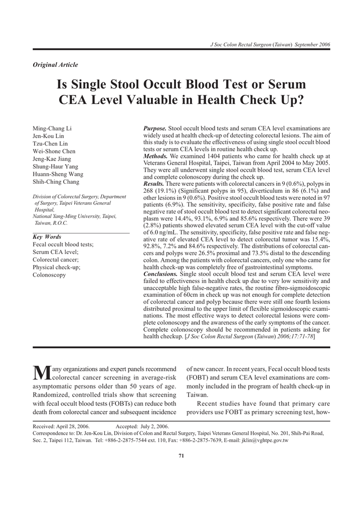 Publication Is Single Stool Occult Blood Test Or Serum Cea Level