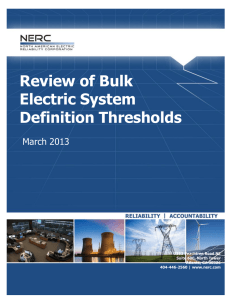 Review of Bulk Electric System Definition Thresholds