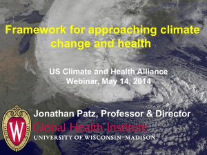 Framework for approaching climate change and health