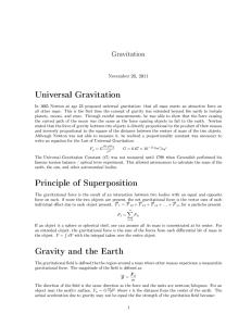 Universal Gravitation Principle of Superposition Gravity and the Earth