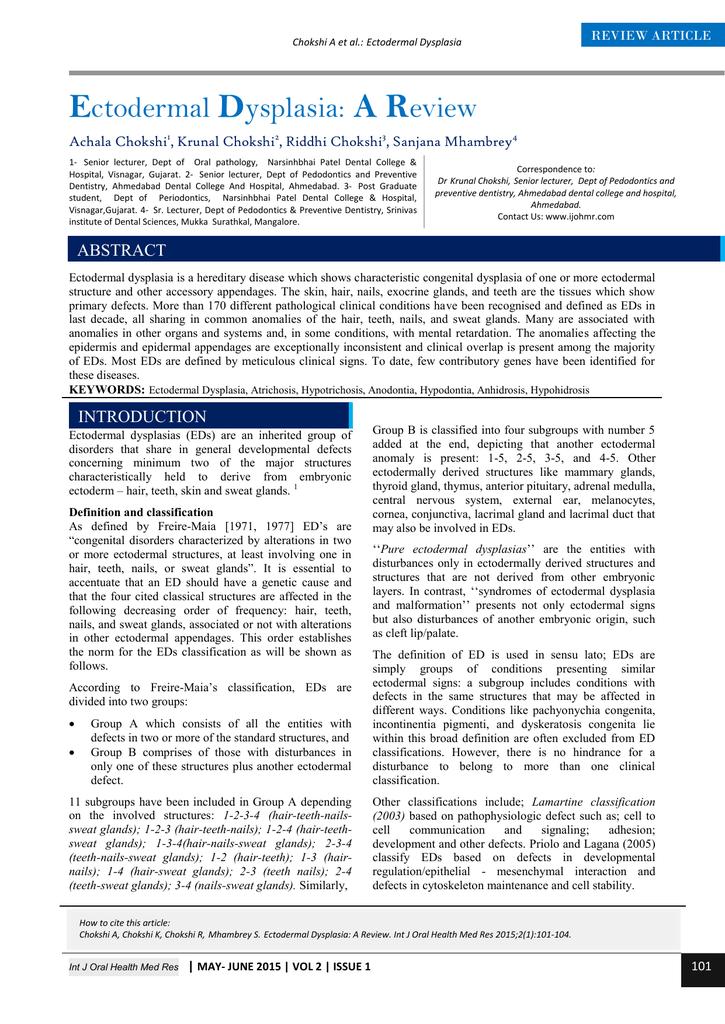 Ectodermal Dysplasia: A Review