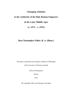 Changing Attitudes to the Authority of the Holy Roman Emperors in