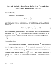 Manual for experiment on Acoustic Velocity, Impedance, Reflection