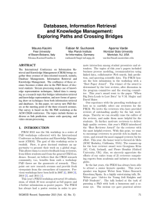 Databases, Information Retrieval and Knowledge Management