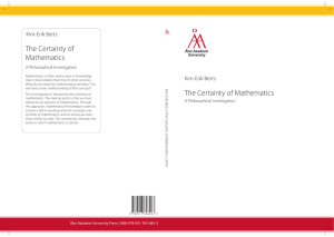 Kim-Erik Berts – The Certainty of Mathematics