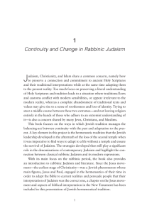 Continuity and Change in Rabbinic Judaism