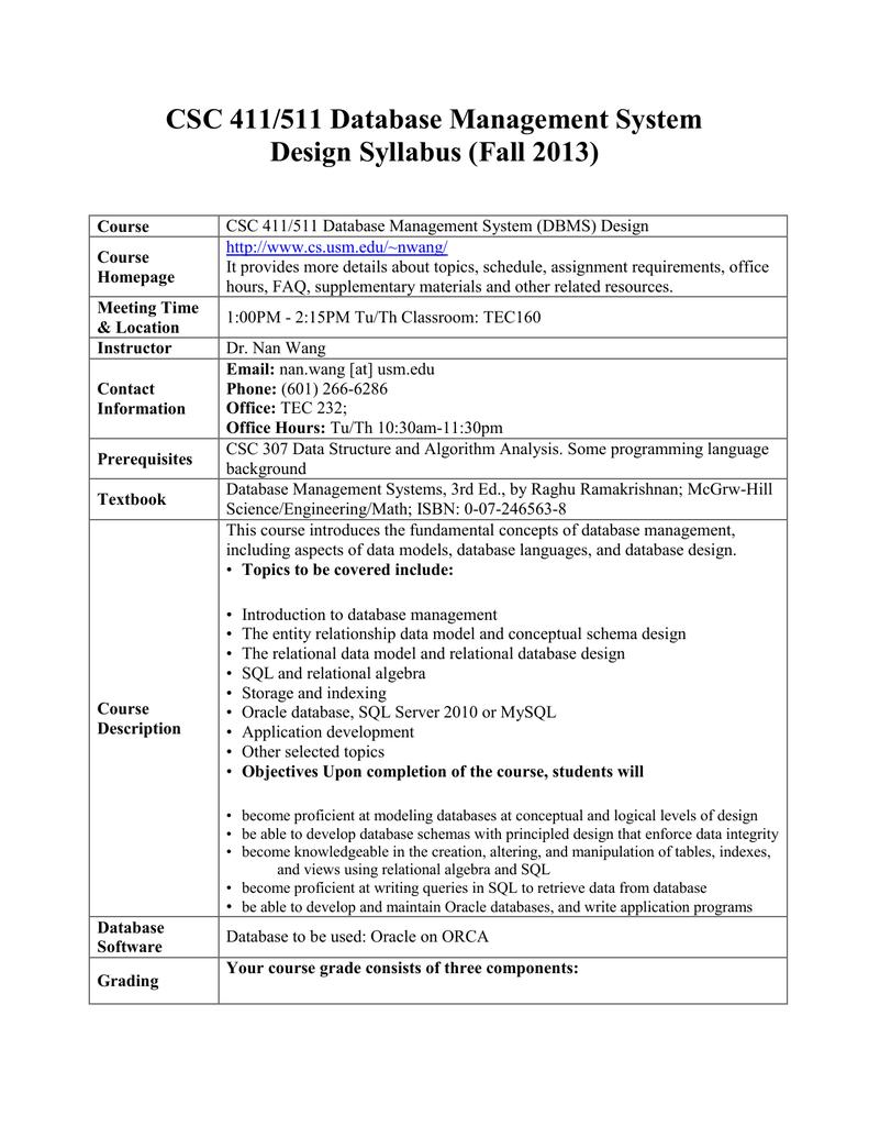 CSC 411/511 Database Management System Design Syllabus (Fall