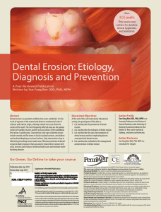 Dental Erosion: Etiology, Diagnosis and Prevention