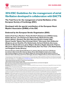 2016 ESC Guidelines for the management of atrial fibrillation