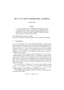 on h1 of finite dimensional algebras