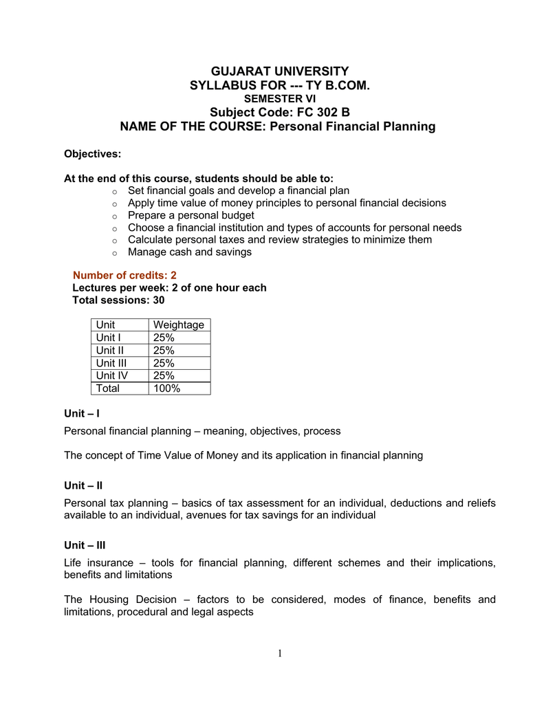 Syllabus B Com Sem-6 FC302B Personal Financial Planning