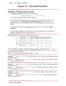 Chapter 5A - Polynomial Functions