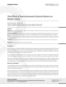 The Effect of Socio-Economic-Cultural Factors on Breast Cancer