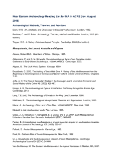 Near Eastern Archaeology Reading List for MA in ACRE (rev
