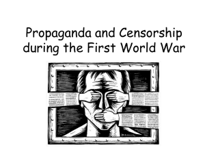 Propaganda and Censorship during the First World War