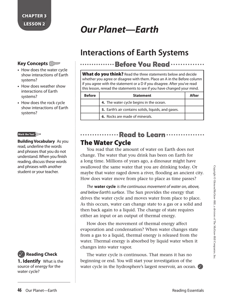 Reading Chapter 3 Lesson 2 Interactions of Earth Systems