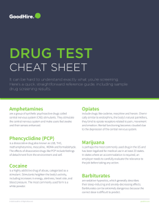 Drug Testing Cheat Sheet - Pre Employment Background Check
