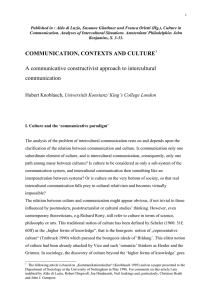 COMMUNICATION, CONTEXTS AND CULTURE A communicative