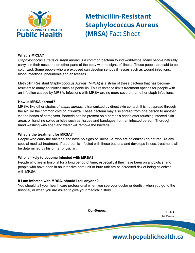 Methicillin-Resistant Staphylococcus Aureus (MRSA) Fact Sheet
