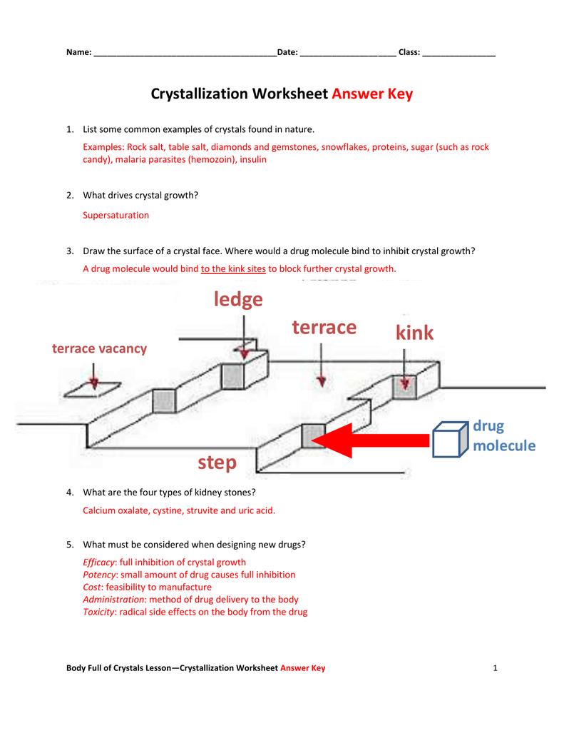 Crystallization Worksheet Answer Key