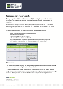Test equipment requirements