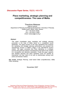 Place marketing, strategic planning and competitiveness: The case