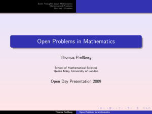 Open Problems in Mathematics - School of Mathematical Sciences