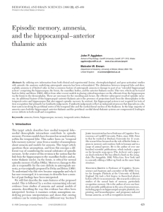 Episodic memory, amnesia, and the hippocampal–anterior thalamic