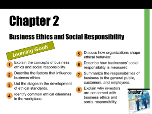 Chapter 2 - Business Ethics and Social Responsibility