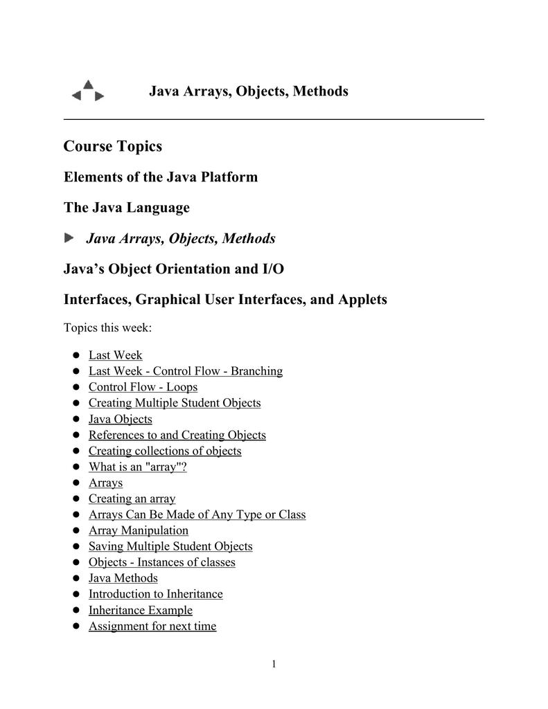 Java Arrays, Objects, Methods