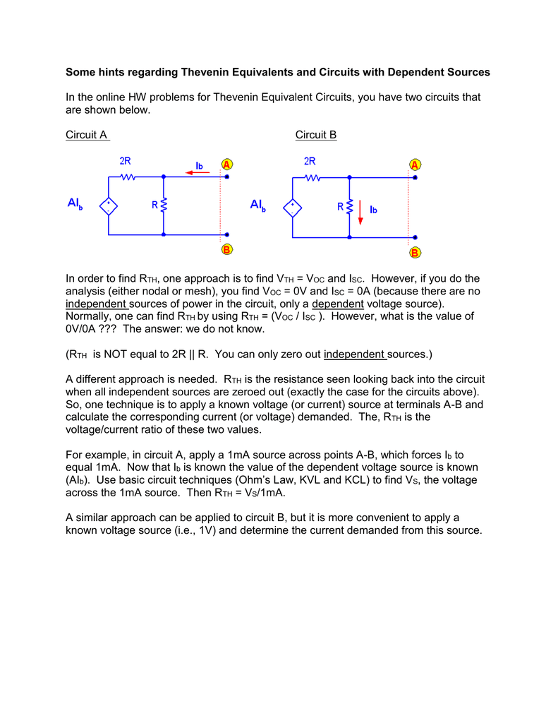Some hints regarding Thevenin Equivalents and Circuits with