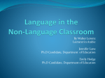 Teacher workshop - Language in the Non