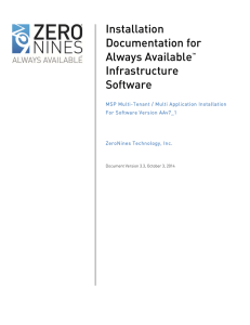 Installation Documentation for Always Available™ Infrastructure