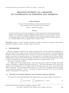 Shannon entropy as a measure of uncertainty in positions and