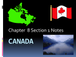 CANADA-Chapter 8 Section 1 Notes